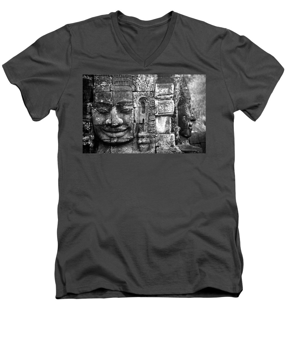 Bayon Temple Men's V-Neck T-Shirt featuring the photograph Bayon IIi by Patrick Klauss