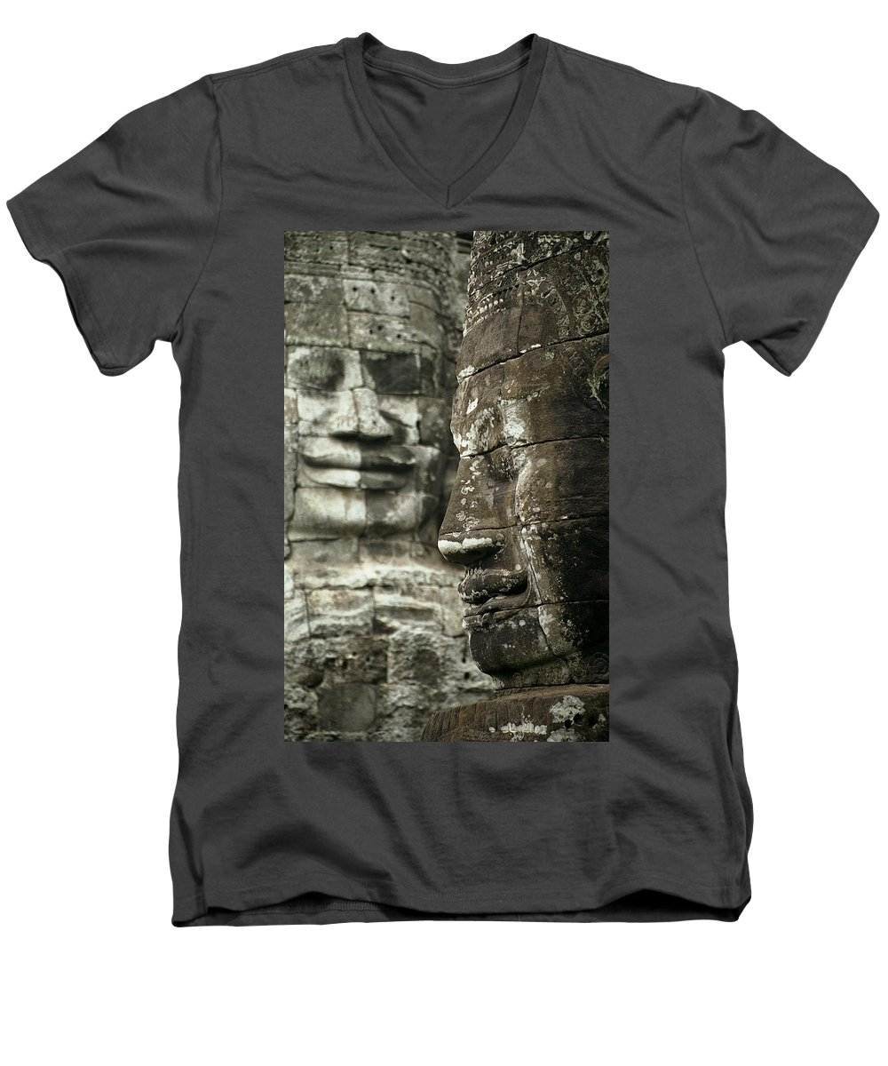 Bayon Men's V-Neck T-Shirt featuring the photograph Bayonii by Patrick Klauss