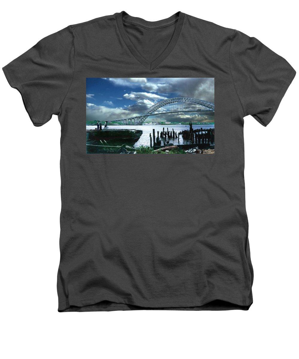 Seascape Men's V-Neck T-Shirt featuring the photograph Bayonne Bridge by Steve Karol