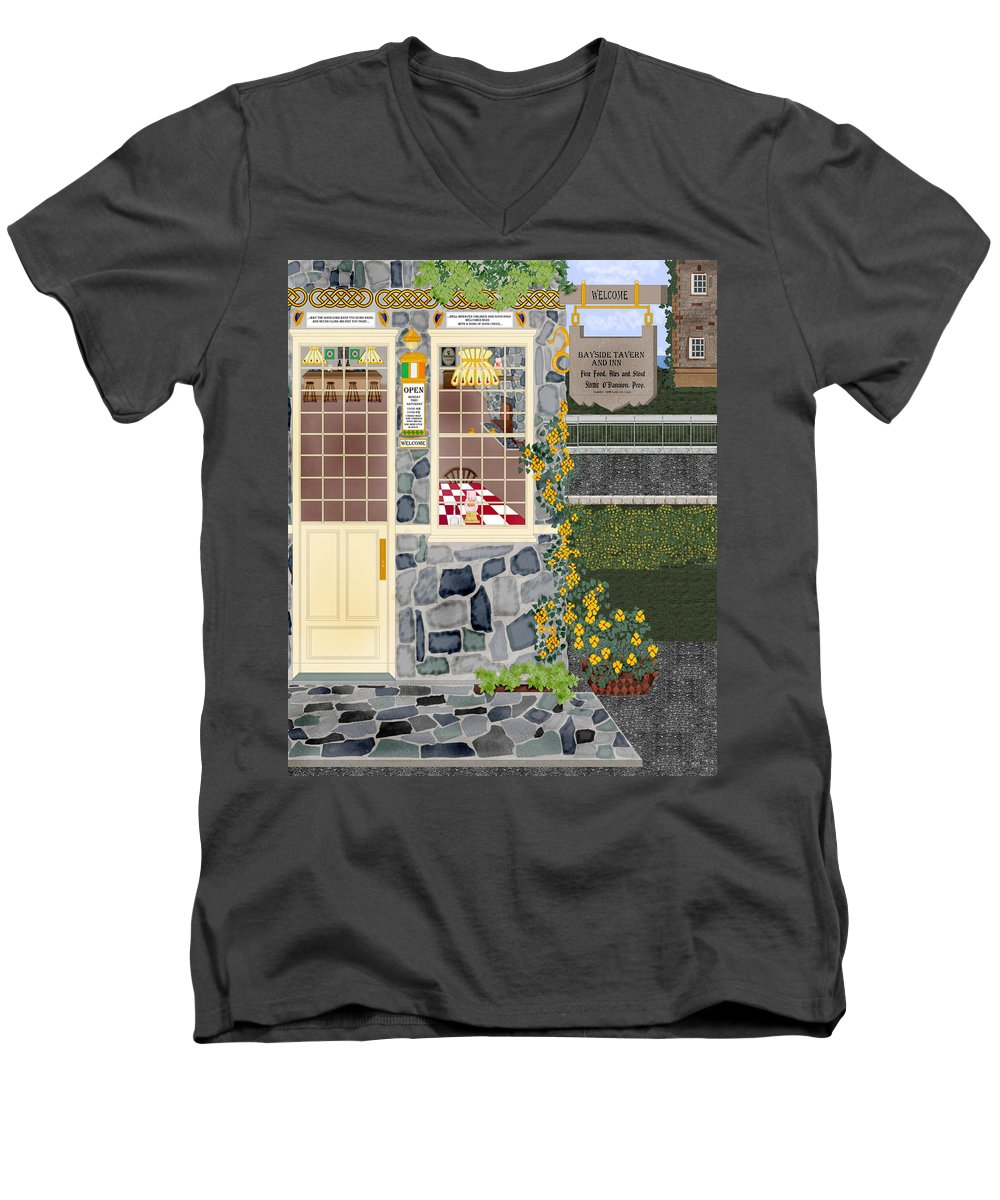 Quaint Inn Men's V-Neck T-Shirt featuring the painting Bayside Inn And Tavern In Ireland by Anne Norskog