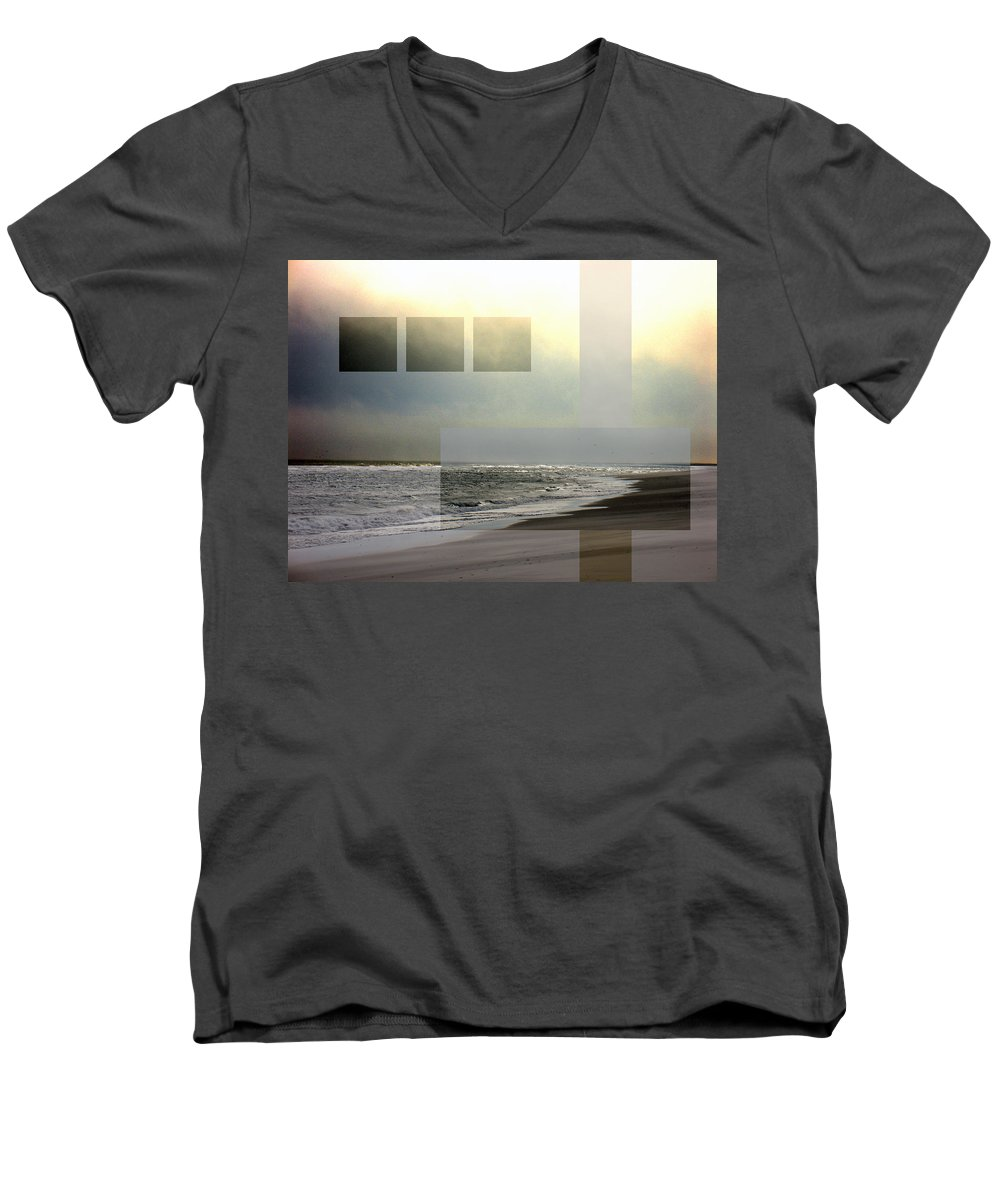 Beach Men's V-Neck T-Shirt featuring the photograph Beach Collage 2 by Steve Karol