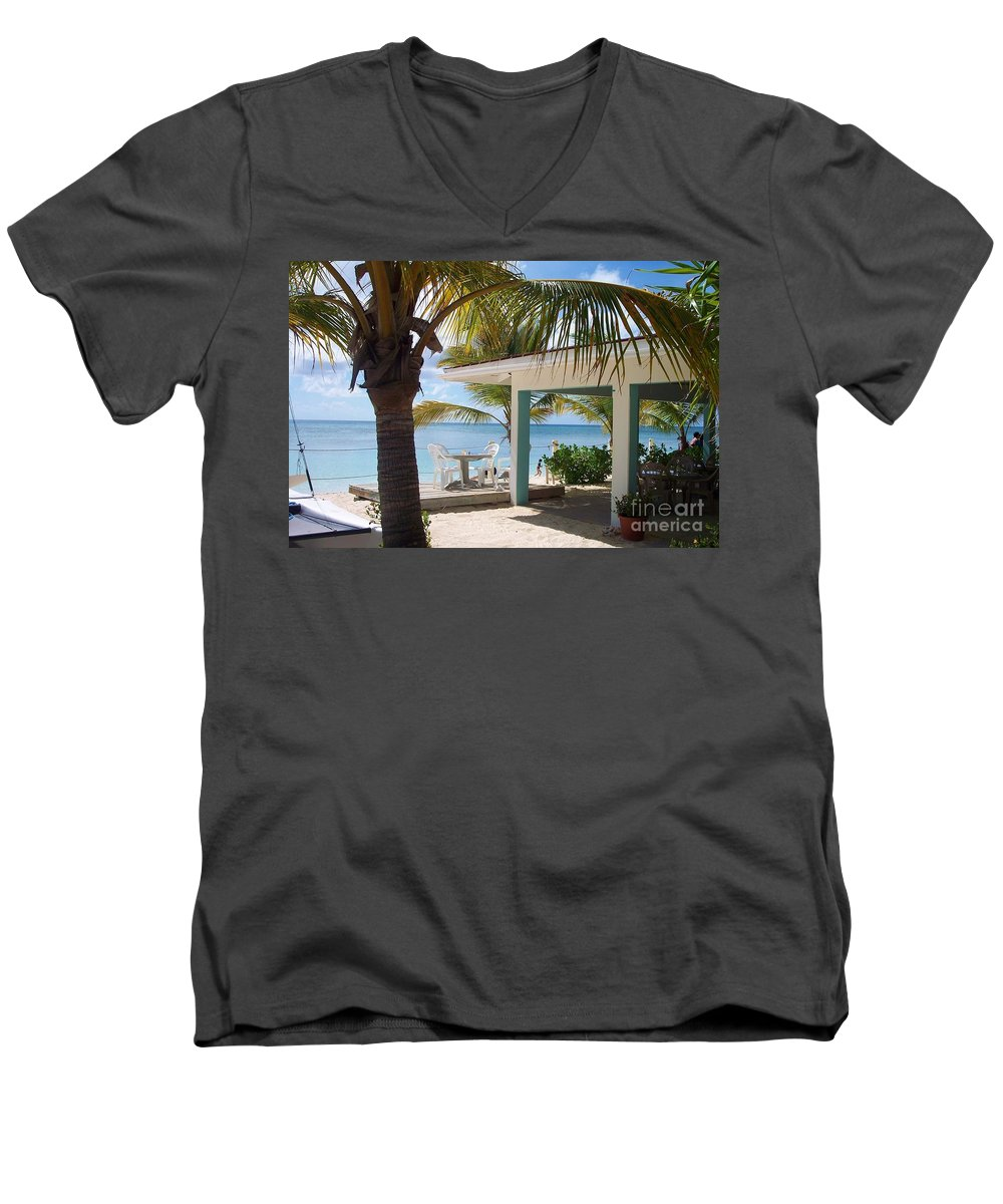 Beach Men's V-Neck T-Shirt featuring the photograph Beach In Grand Turk by Debbi Granruth