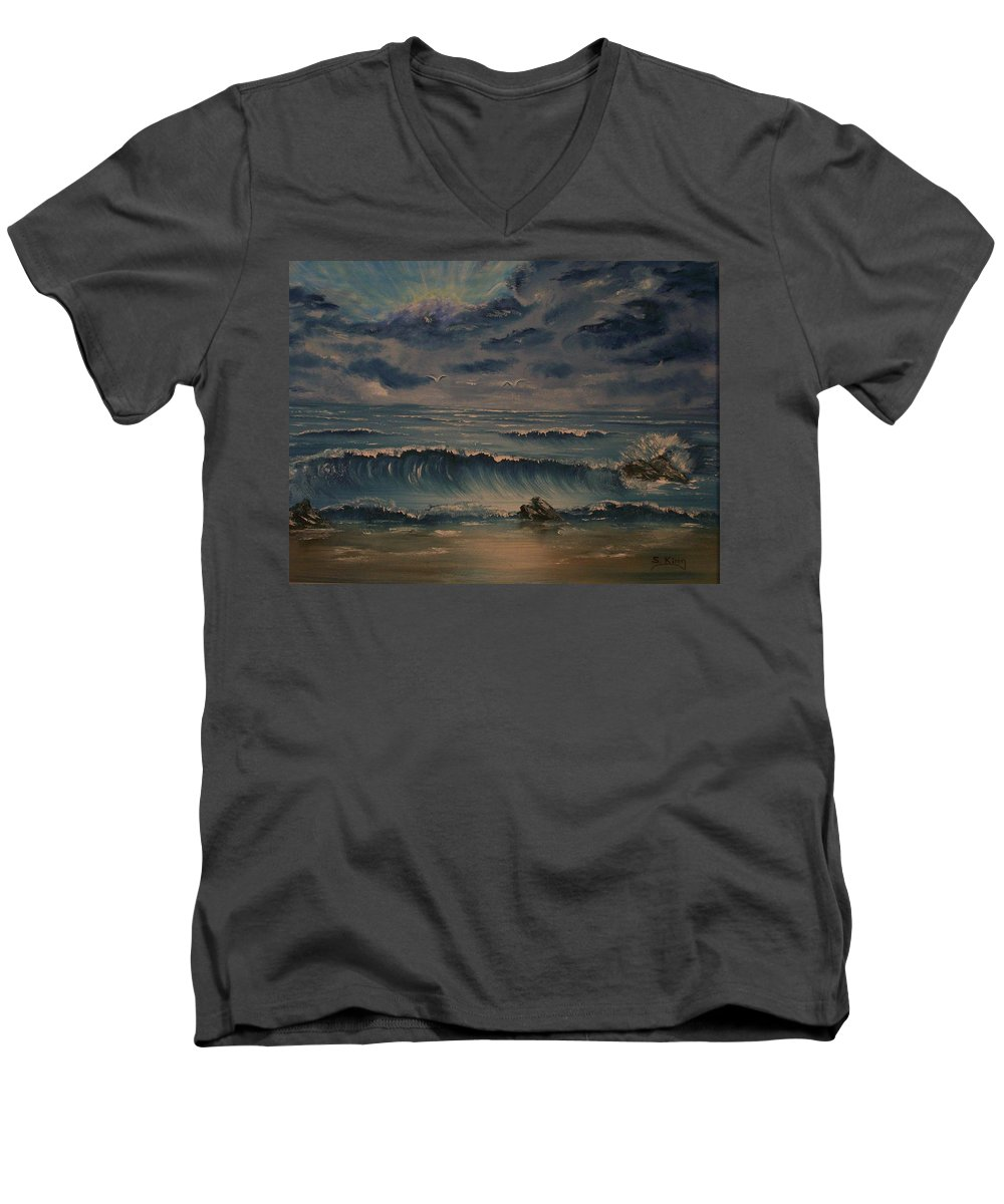 Water Men's V-Neck T-Shirt featuring the painting Beach Scene by Stephen King