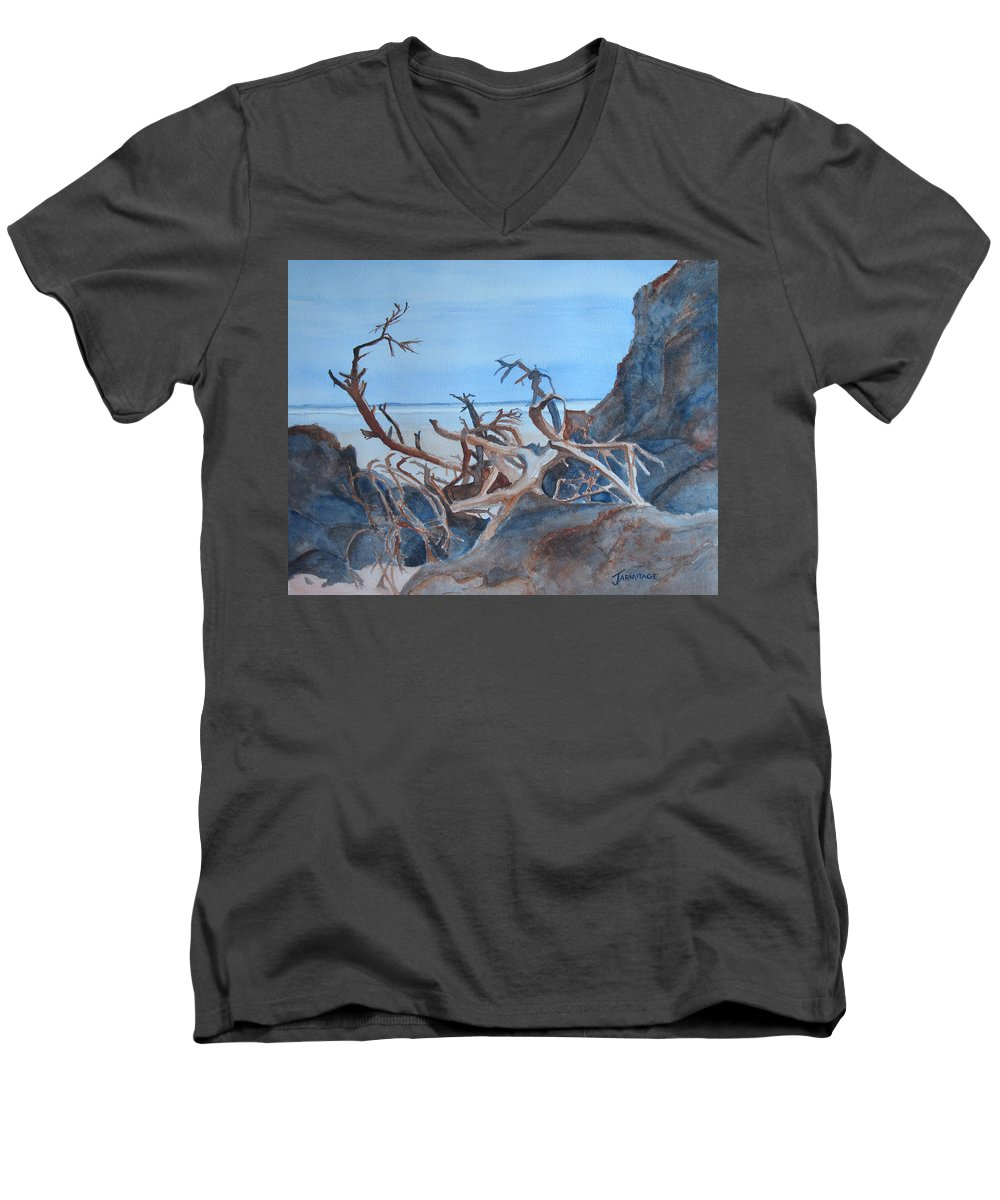 Seascapes Men's V-Neck T-Shirt featuring the painting Beach Tangle by Jenny Armitage