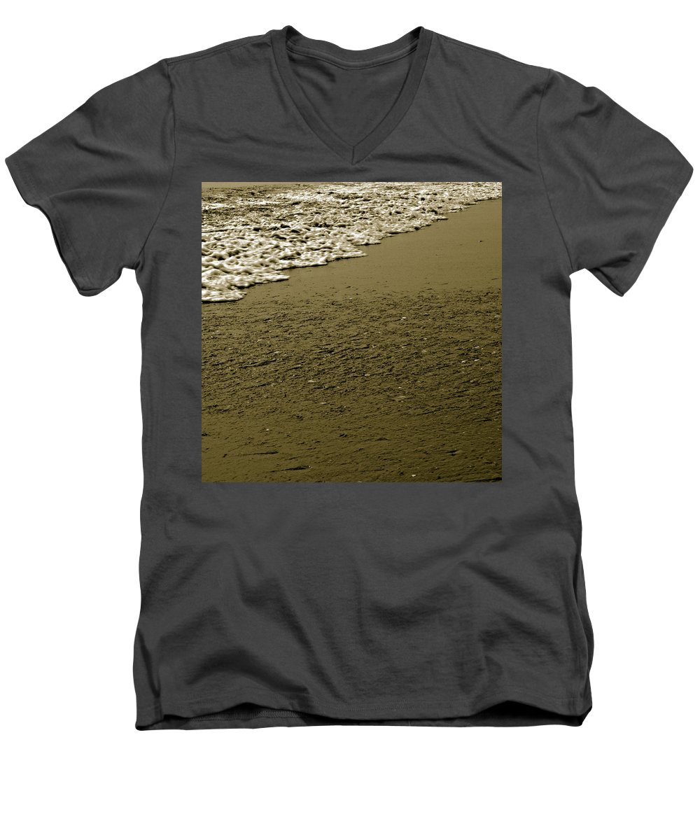 Water Men's V-Neck T-Shirt featuring the photograph Beach Texture by Jean Macaluso