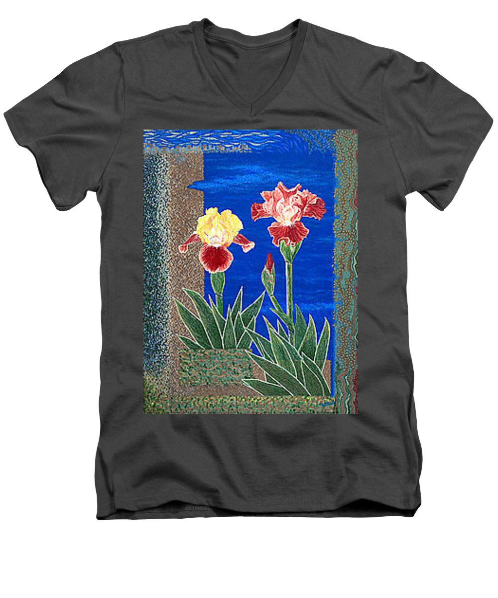 Irises Men's V-Neck T-Shirt featuring the painting Bearded Irises Cheerful Fine Art Print Giclee High Quality Exceptional Color by Baslee Troutman