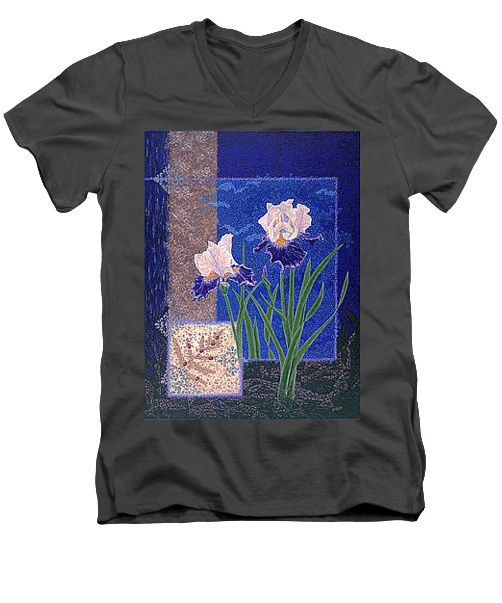 Irises Men's V-Neck T-Shirt featuring the painting Bearded Irises Fine Art Print Giclee Ladybug Path by Baslee Troutman