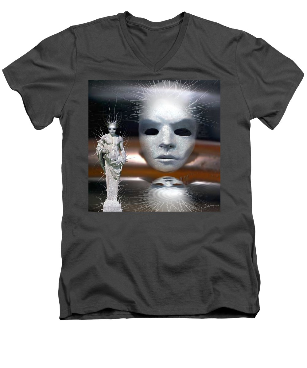 Digital Beauty Eyes Water Men's V-Neck T-Shirt featuring the digital art Beauty Is Invisible To The Eye. by Veronica Jackson