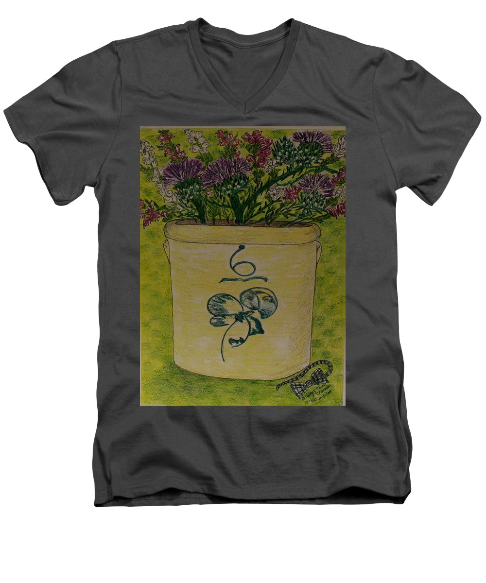 Bee Sting Crock Men's V-Neck T-Shirt featuring the painting Bee Sting Crock With Good Luck Bow Heather And Thistles by Kathy Marrs Chandler