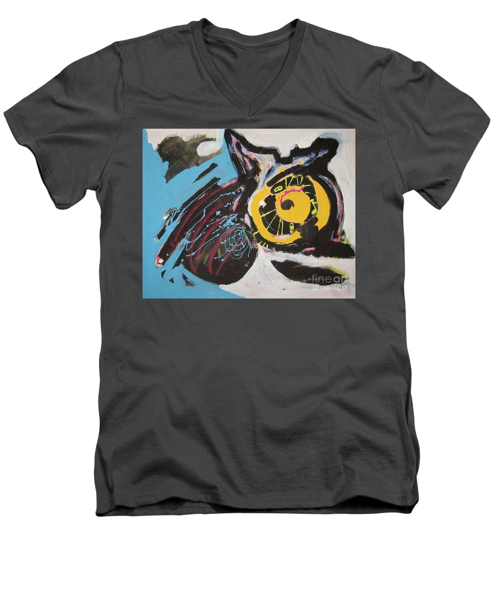 Abstract Cat Paintings Men's V-Neck T-Shirt featuring the painting Being Lazy by Seon-Jeong Kim