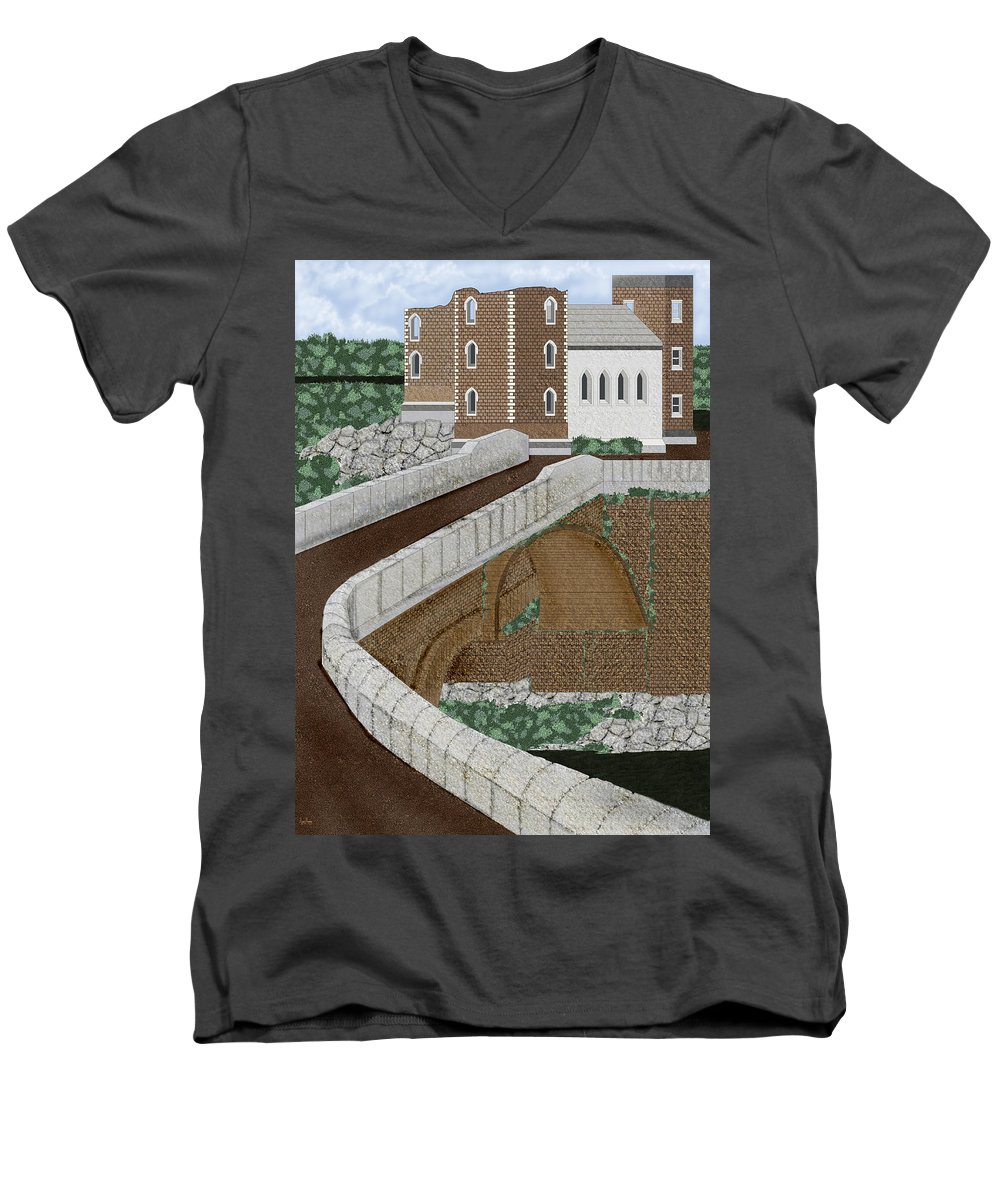 Castle Ruins Men's V-Neck T-Shirt featuring the painting Beloved Ruins by Anne Norskog