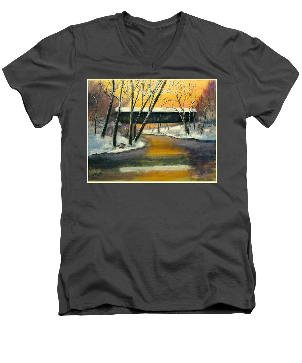 Kentucky Men's V-Neck T-Shirt featuring the painting Bennett by Gail Kirtz