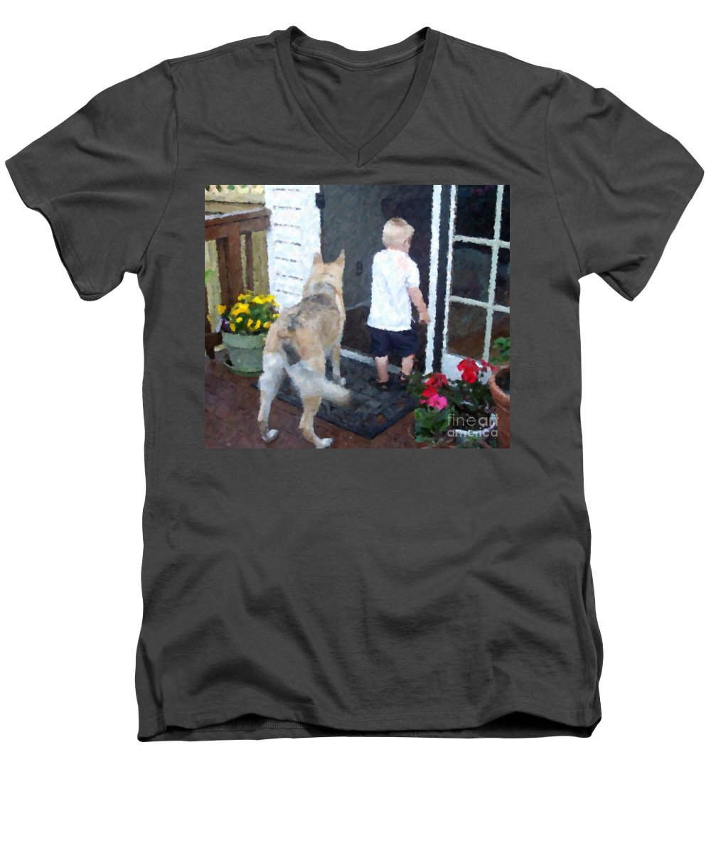 Dogs Men's V-Neck T-Shirt featuring the photograph Best Friends by Debbi Granruth