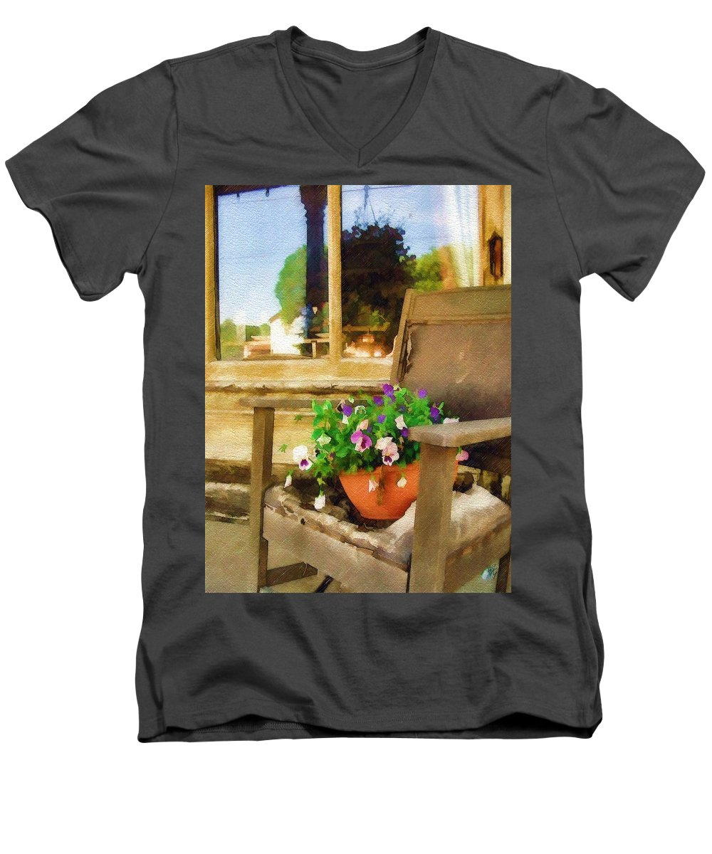Pansies Men's V-Neck T-Shirt featuring the photograph Best Seat In The House by Sandy MacGowan