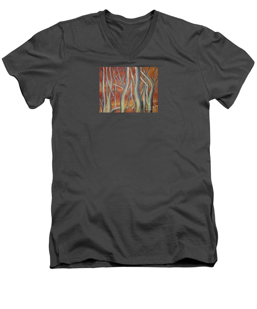 Trees Forest Original Painting Abstract Men's V-Neck T-Shirt featuring the painting Beyond by Leila Atkinson