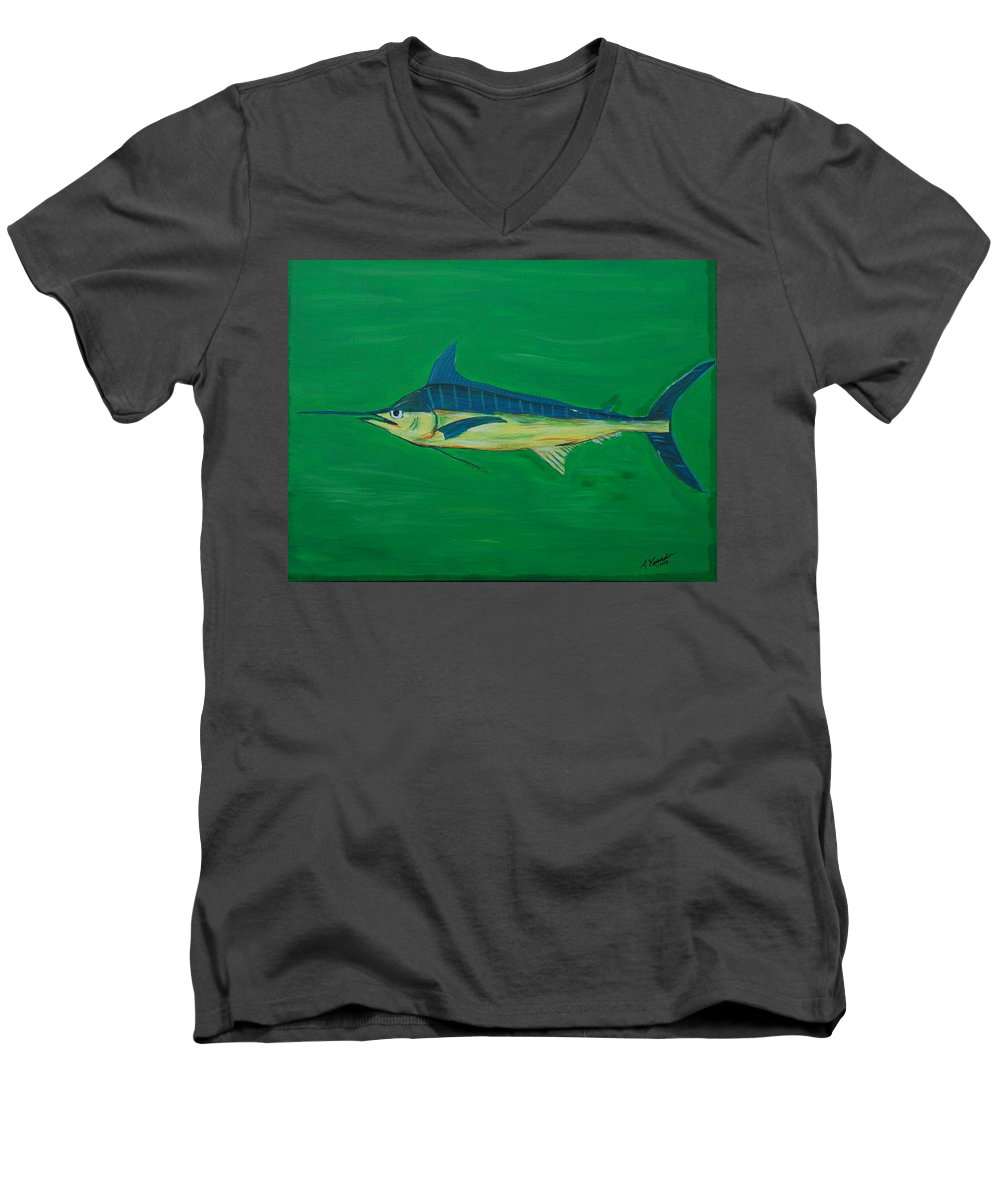 Blue Marlin Men's V-Neck T-Shirt featuring the painting Big Fish by Angela Miles Varnado