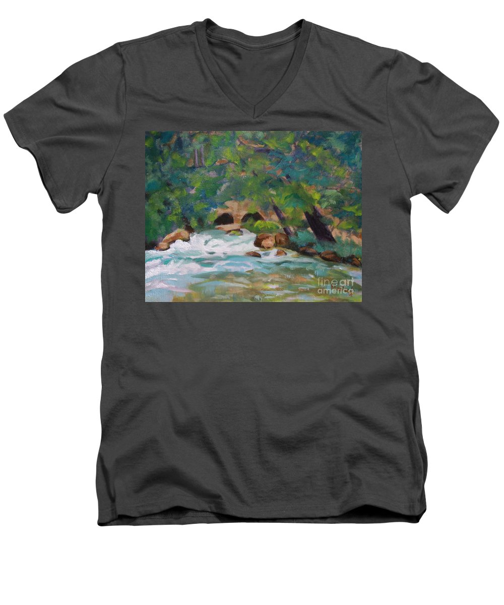 Impressionistic Men's V-Neck T-Shirt featuring the painting Big Spring On The Current River by Jan Bennicoff
