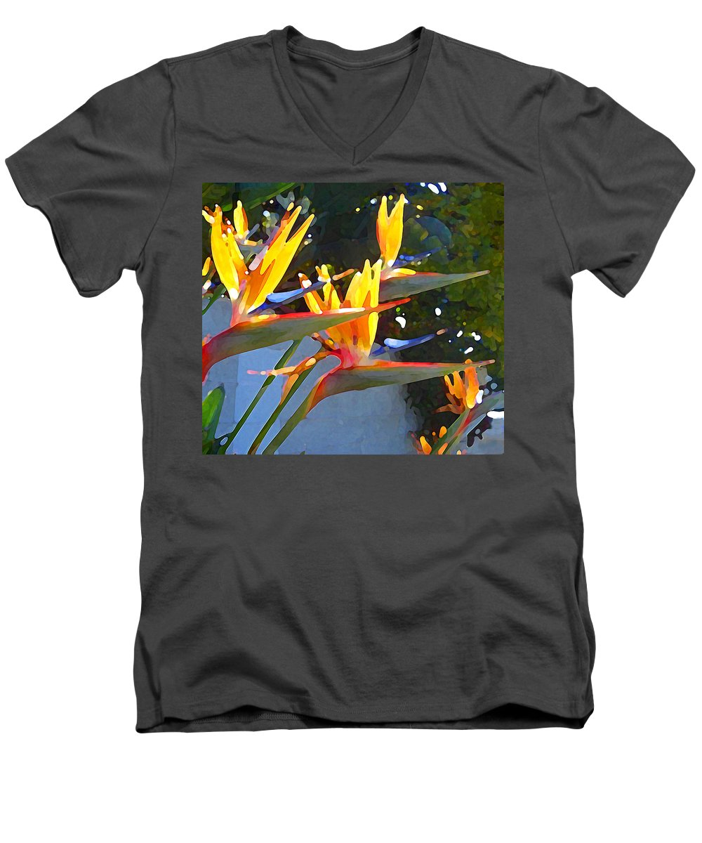 Abstract Men's V-Neck T-Shirt featuring the painting Bird Of Paradise Backlit By Sun by Amy Vangsgard