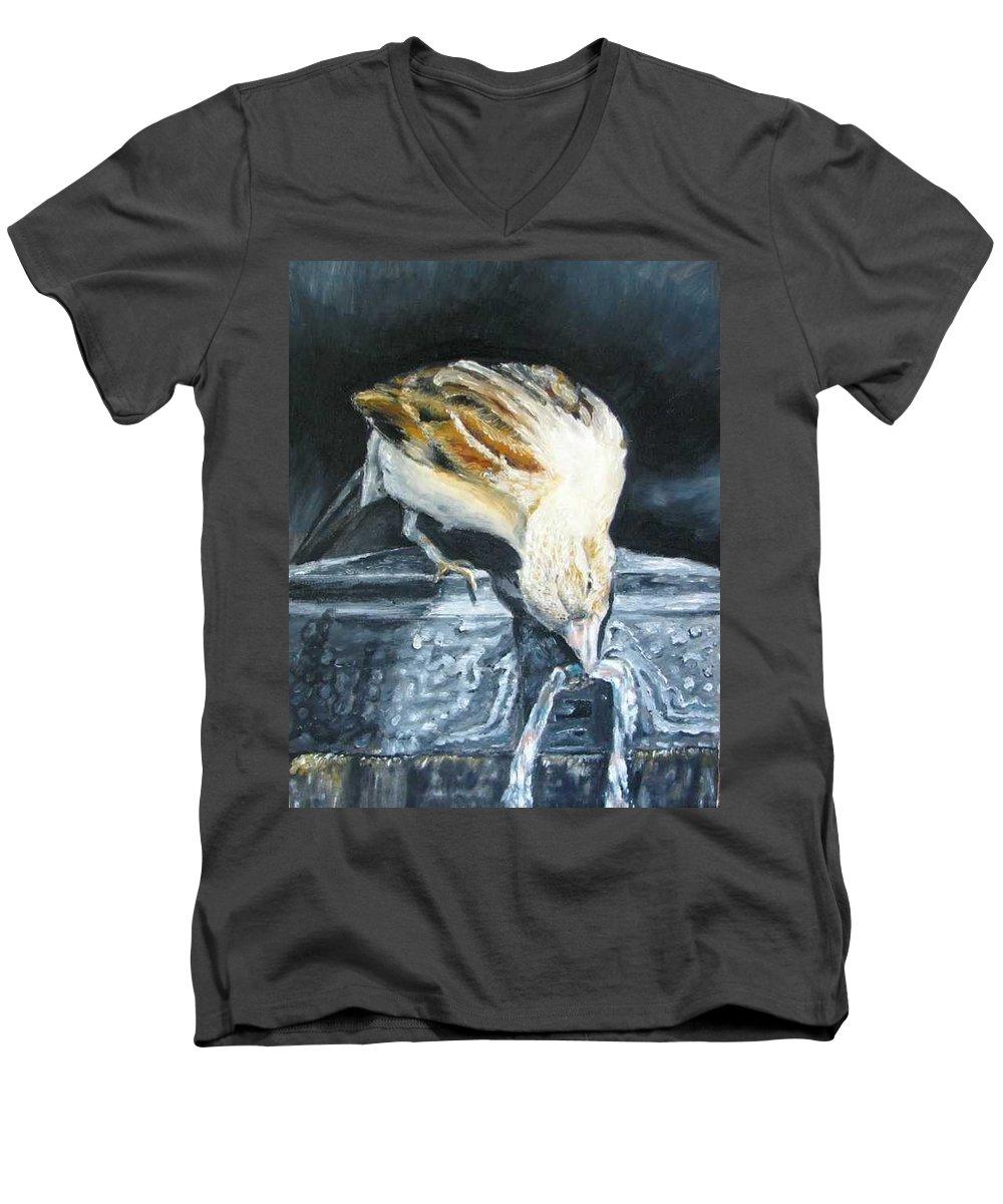 Oil Painting On Canvas Men's V-Neck T-Shirt featuring the painting Bird Original Oil Painting by Natalja Picugina