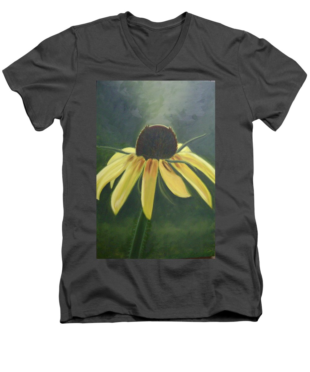 Flower Men's V-Neck T-Shirt featuring the painting Black Eyed Susan by Toni Berry