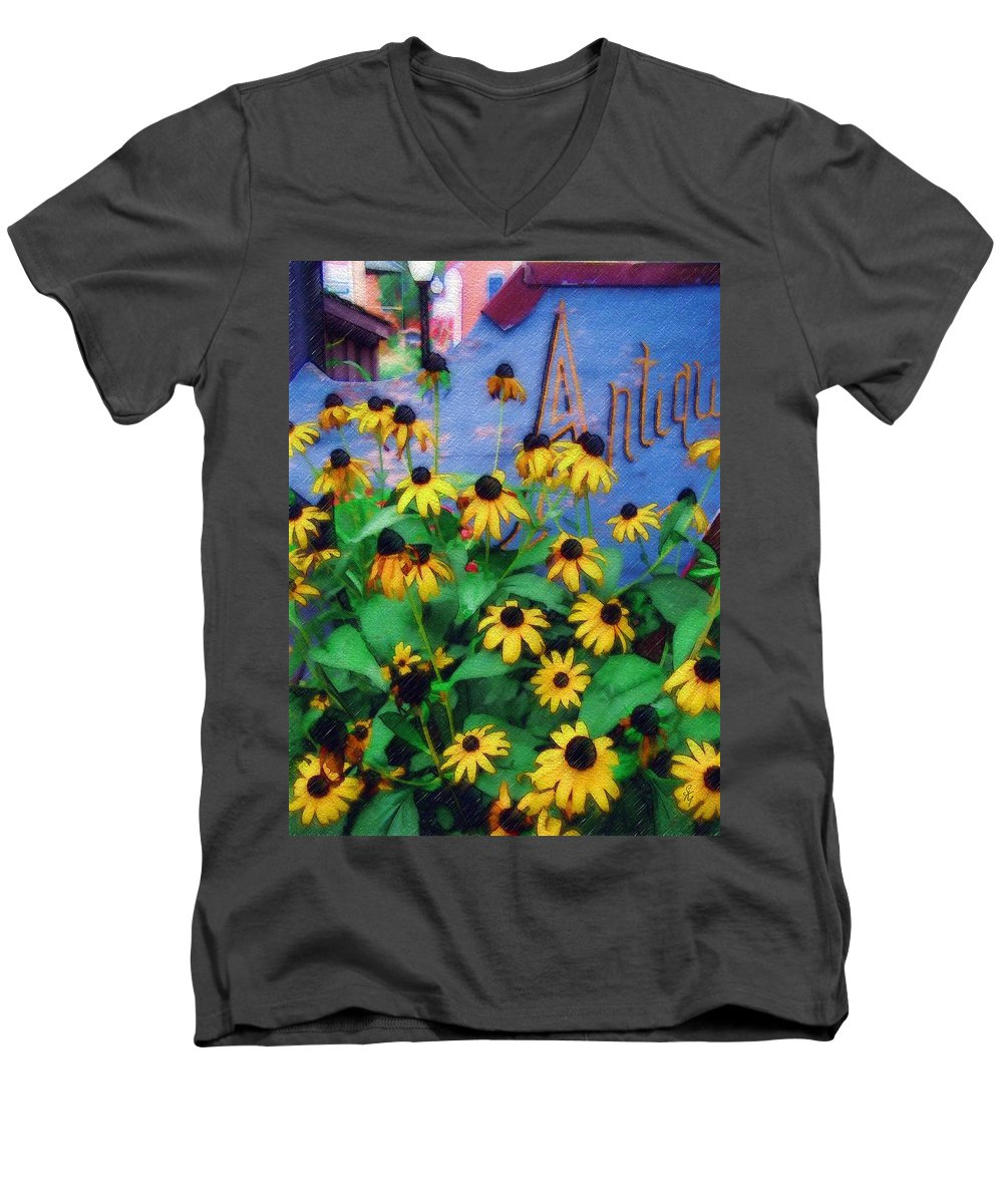 Flowers Men's V-Neck T-Shirt featuring the photograph Black-eyed Susans At The Bag Factory by Sandy MacGowan