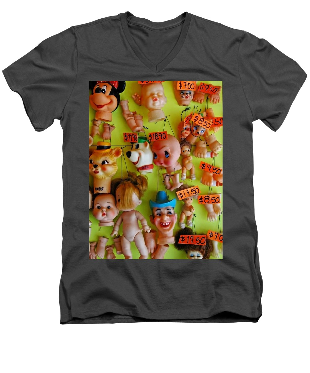 Heads Men's V-Neck T-Shirt featuring the photograph Black Market Parts by Skip Hunt