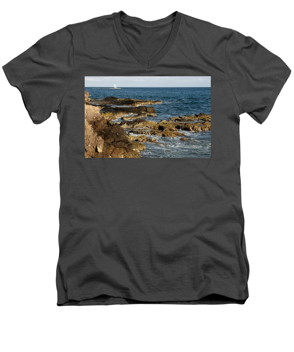 Sailboat Men's V-Neck T-Shirt featuring the photograph Black Rock Point And Sailboat by Jean Macaluso