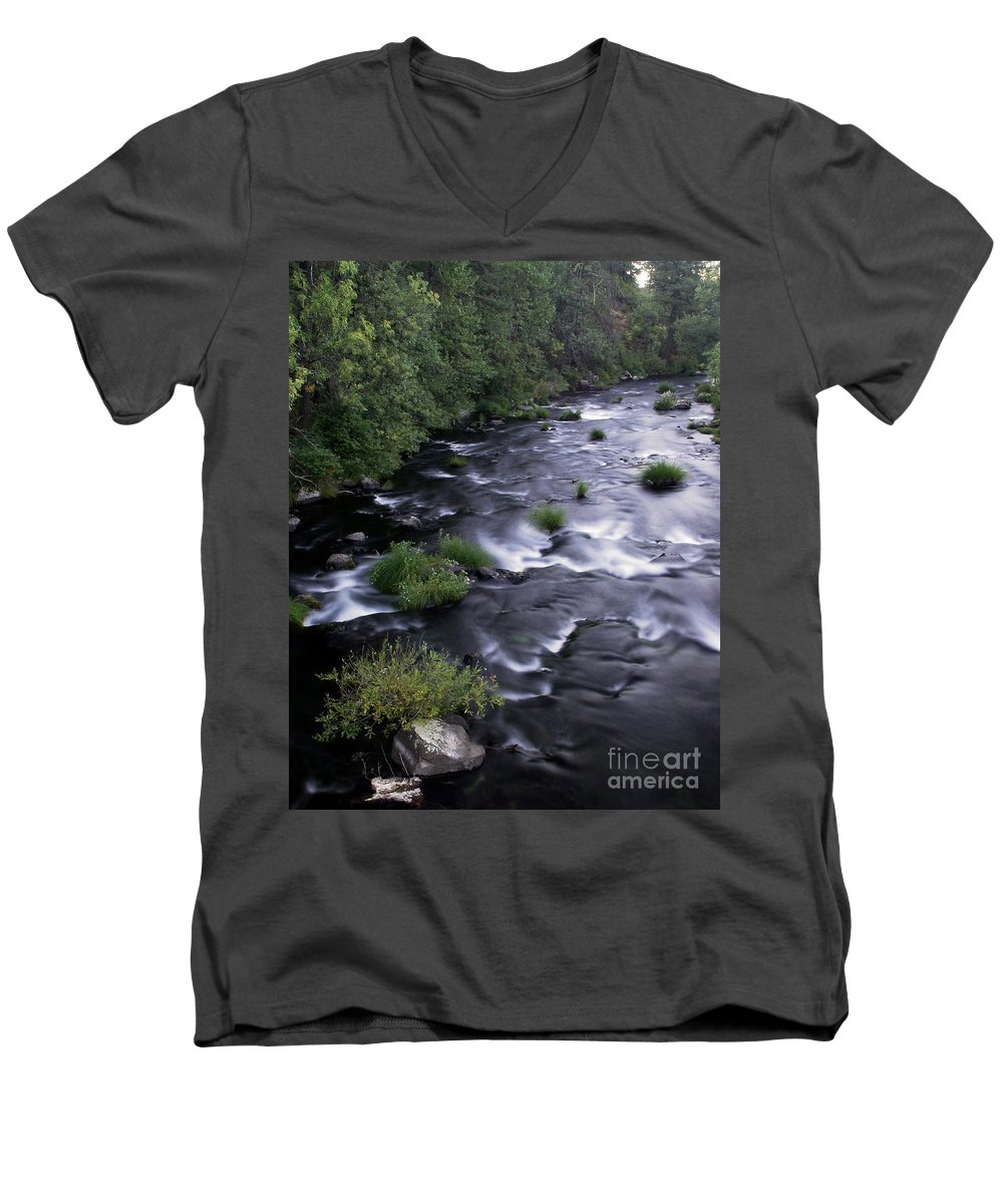 River Men's V-Neck T-Shirt featuring the photograph Black Waters by Peter Piatt