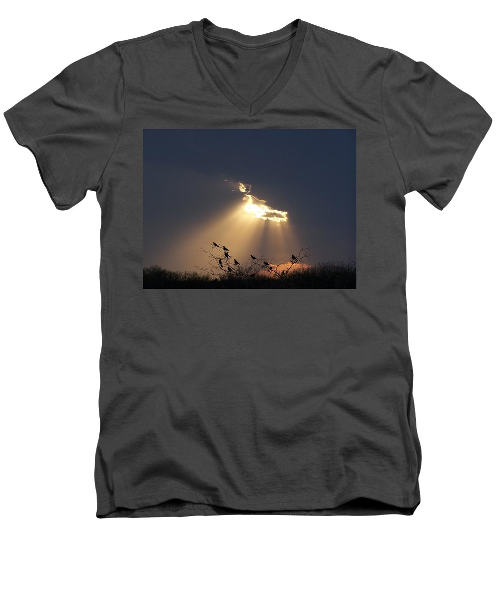 Storm Men's V-Neck T-Shirt featuring the photograph Blackbird Sky by Gale Cochran-Smith