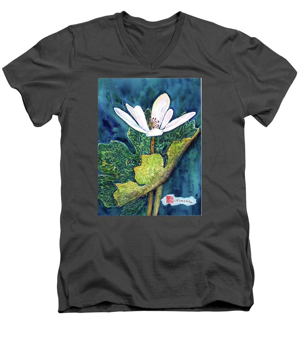 White Flower Men's V-Neck T-Shirt featuring the painting Blood Root by Norma Boeckler