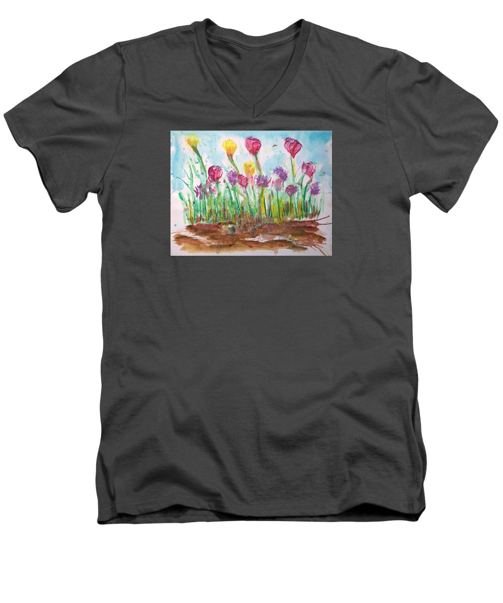 Flowers Men's V-Neck T-Shirt featuring the painting Blooming Colors by J R Seymour