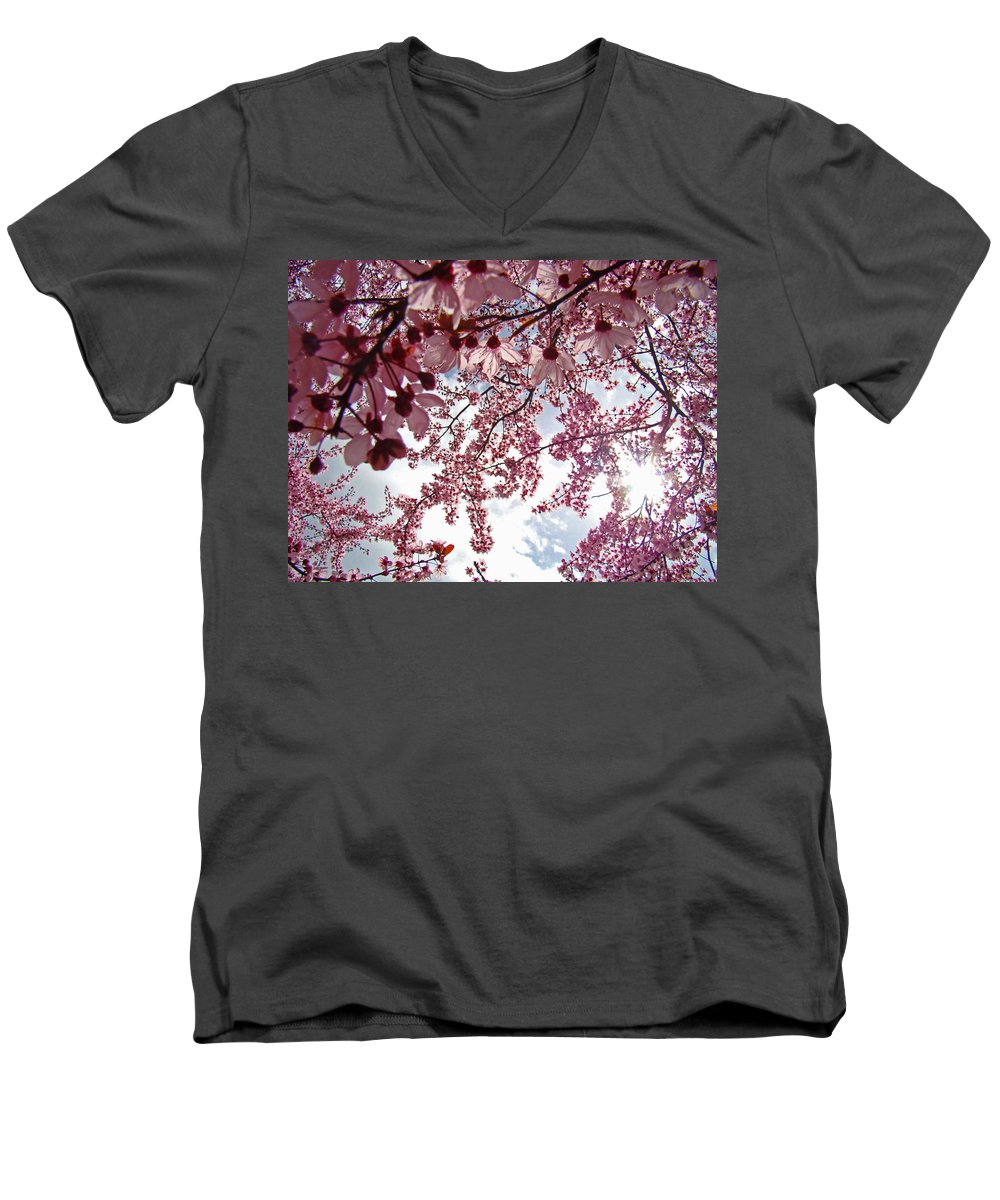Tree Men's V-Neck T-Shirt featuring the photograph Blossom Artwork Spring Flowers Art Prints Giclee by Baslee Troutman