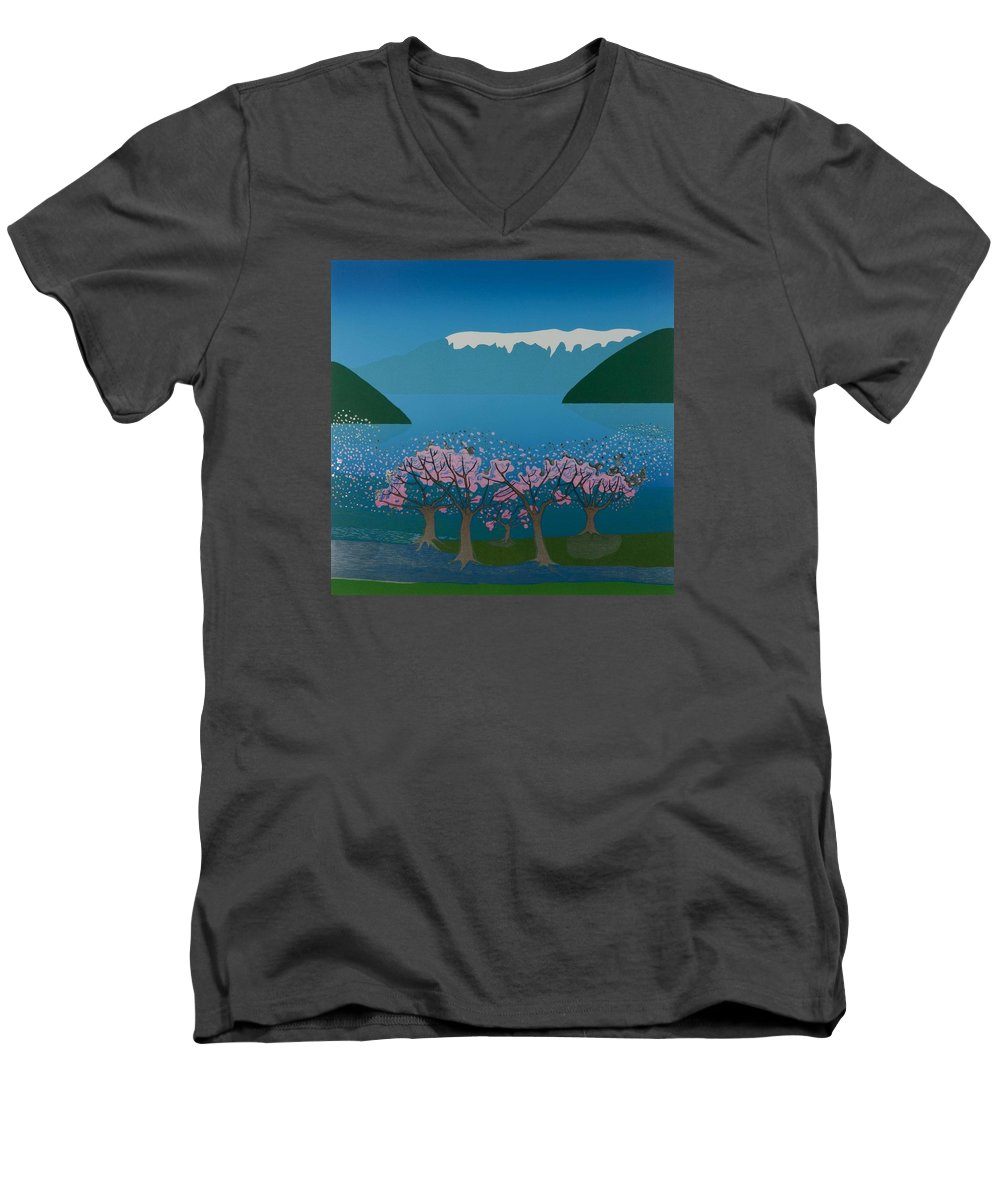 Landscape Men's V-Neck T-Shirt featuring the mixed media Blossom In The Hardanger Fjord by Jarle Rosseland