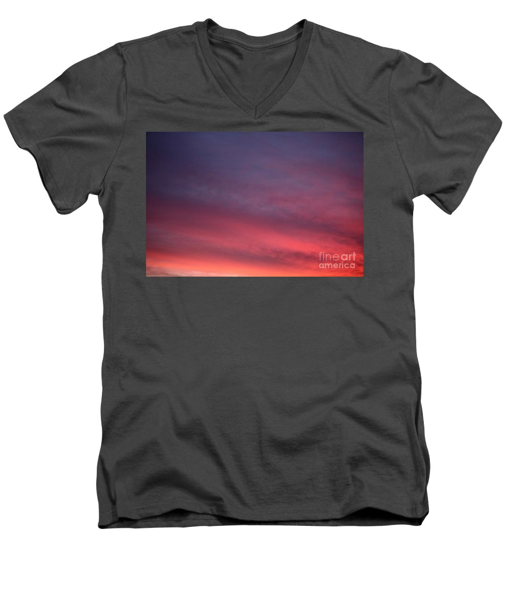 Sunset Men's V-Neck T-Shirt featuring the photograph Blue And Orange Sunset by Nadine Rippelmeyer