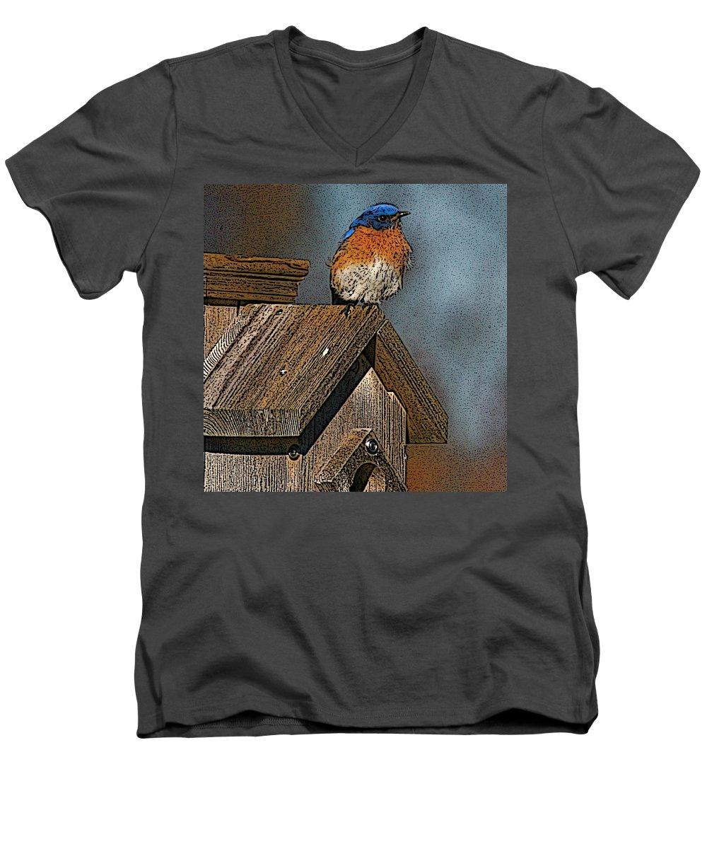 Blue Bird Men's V-Neck T-Shirt featuring the photograph Blue Bird Songs by Robert Pearson