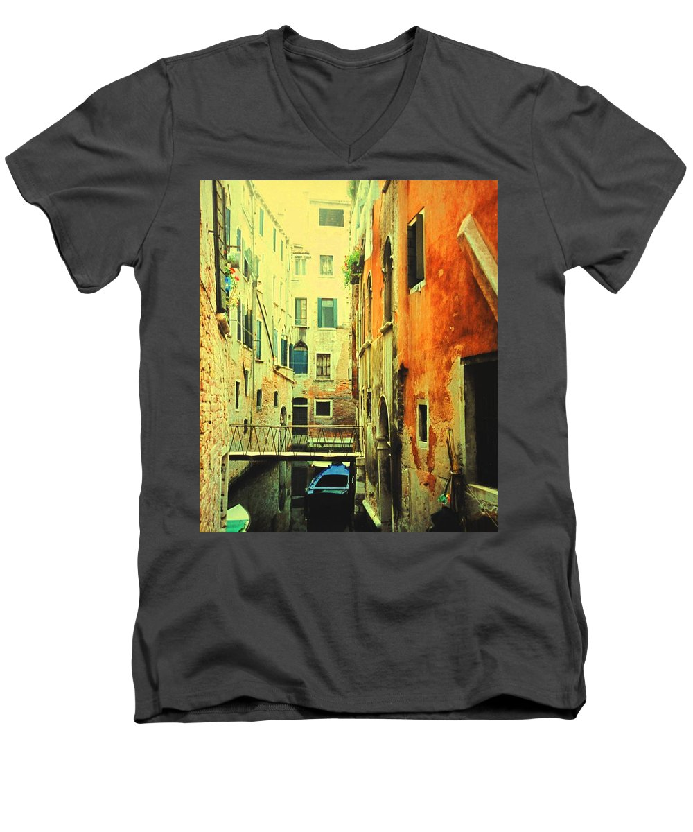 Venice Men's V-Neck T-Shirt featuring the photograph Blue Boat In Venice by Ian MacDonald