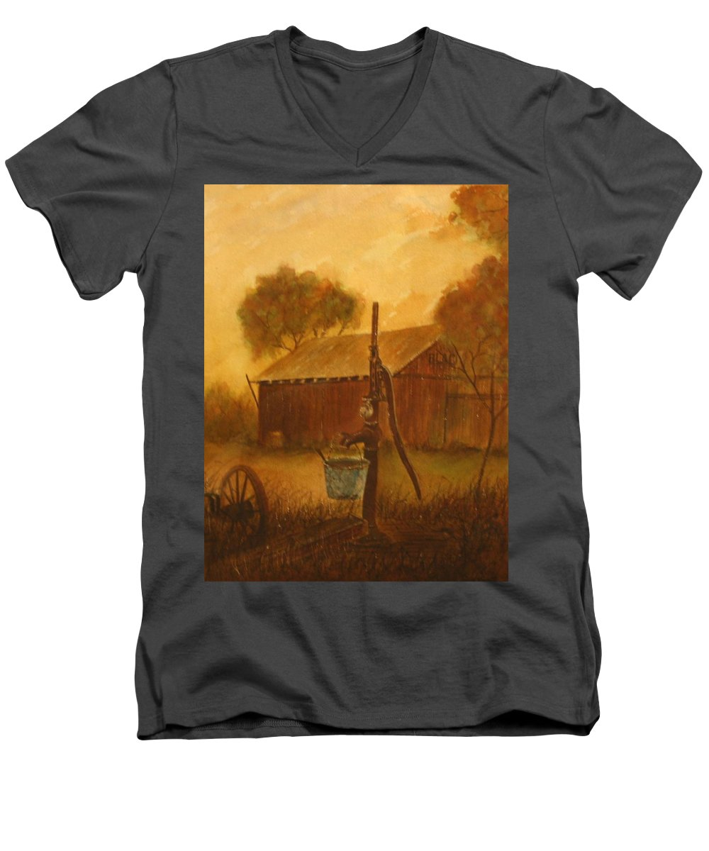Barn; Bucket; Country Men's V-Neck T-Shirt featuring the painting Blue Bucket by Ben Kiger