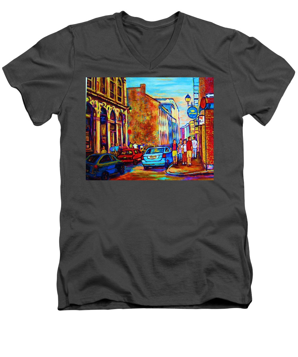 Montreal Men's V-Neck T-Shirt featuring the painting Blue Cars At The Resto Bar by Carole Spandau