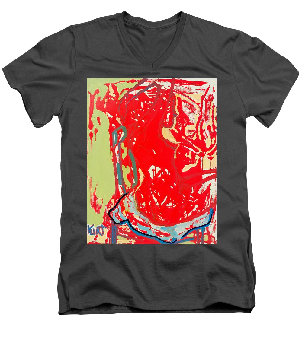 Nude Men's V-Neck T-Shirt featuring the painting Blue Chair by Kurt Hausmann