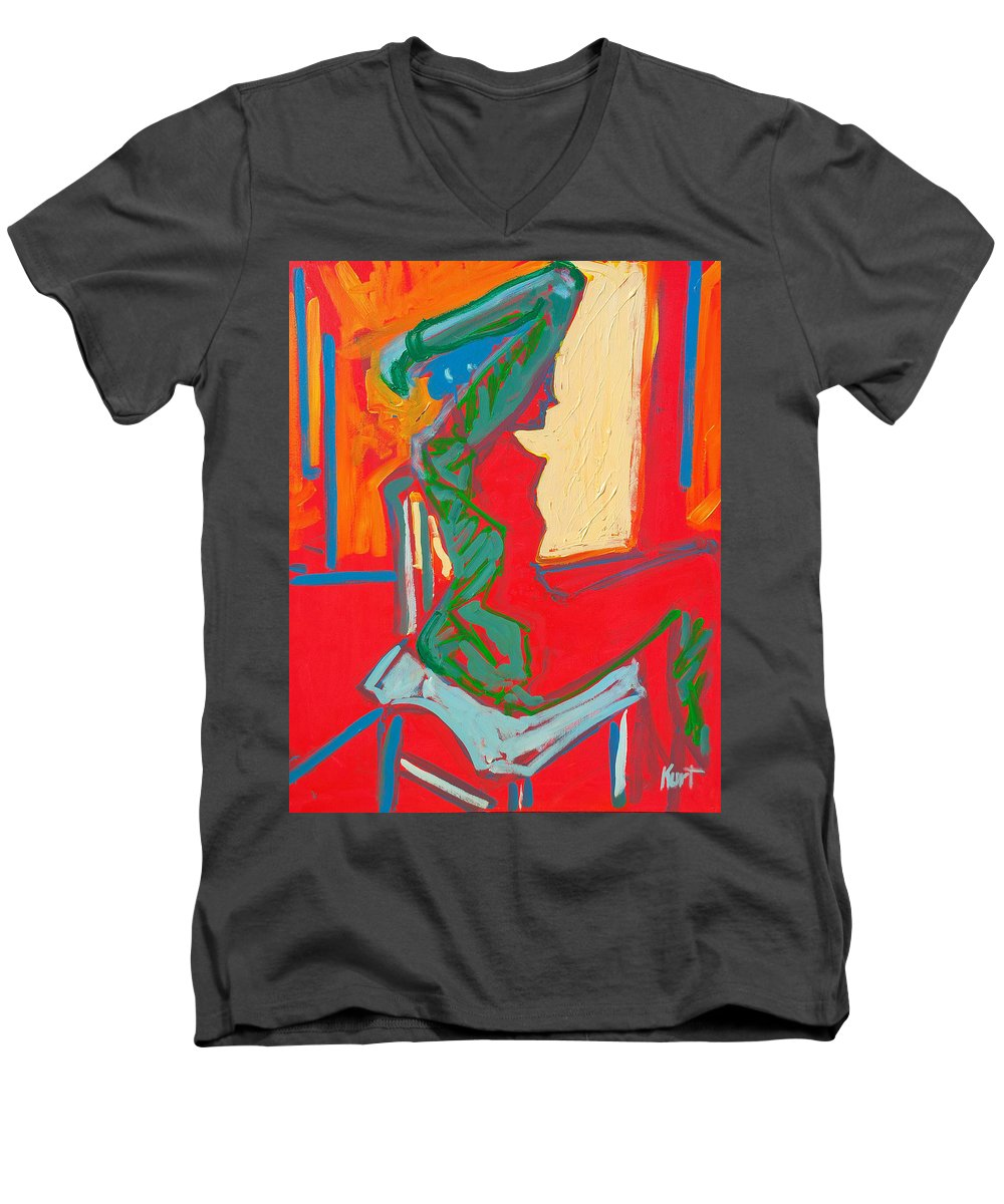 Woman Men's V-Neck T-Shirt featuring the painting Blue Chair Study by Kurt Hausmann