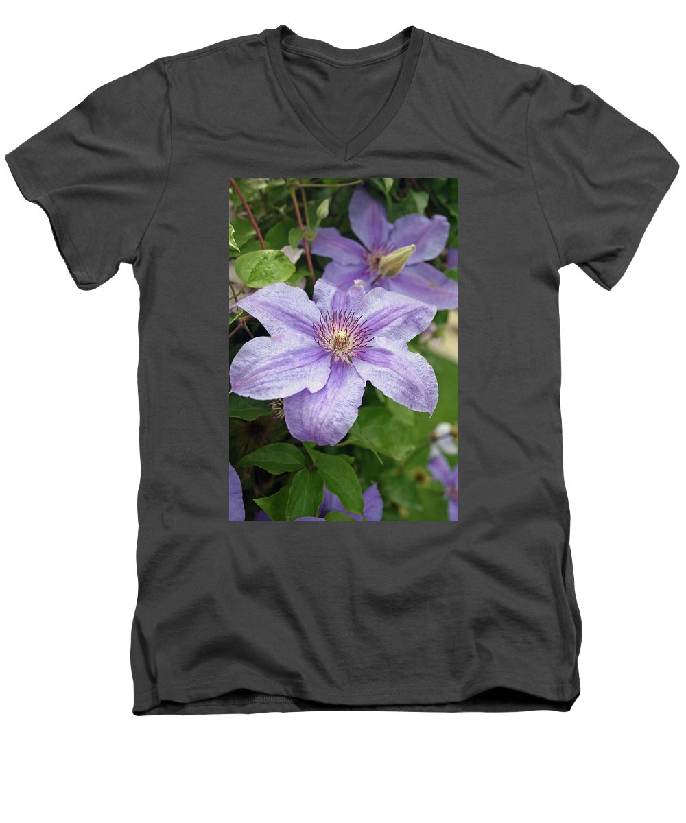Clematis Men's V-Neck T-Shirt featuring the photograph Blue Clematis by Margie Wildblood