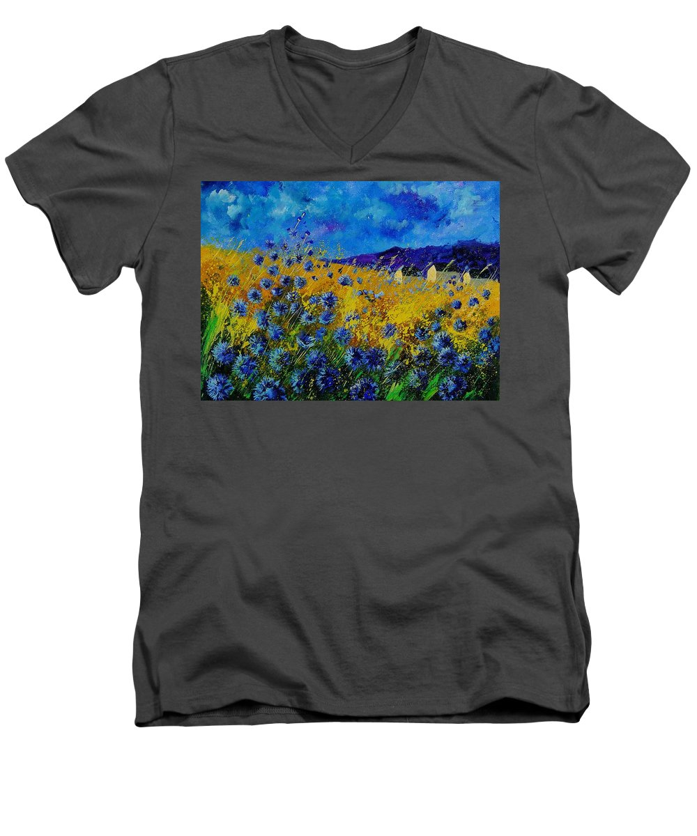 Poppies Men's V-Neck T-Shirt featuring the painting Blue Cornflowers by Pol Ledent