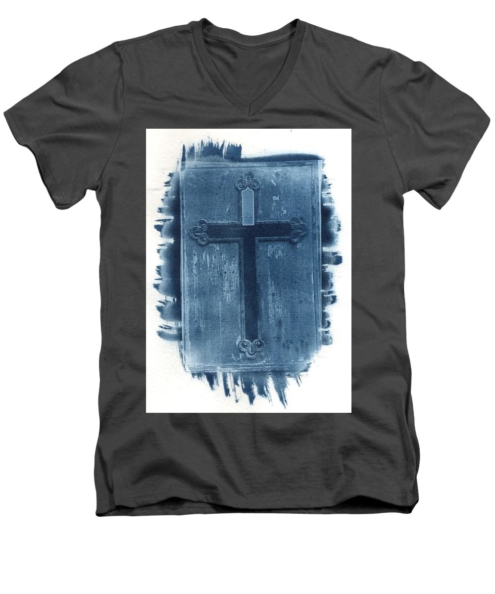 Cyanotype Men's V-Neck T-Shirt featuring the photograph Blue Cross by Jane Linders