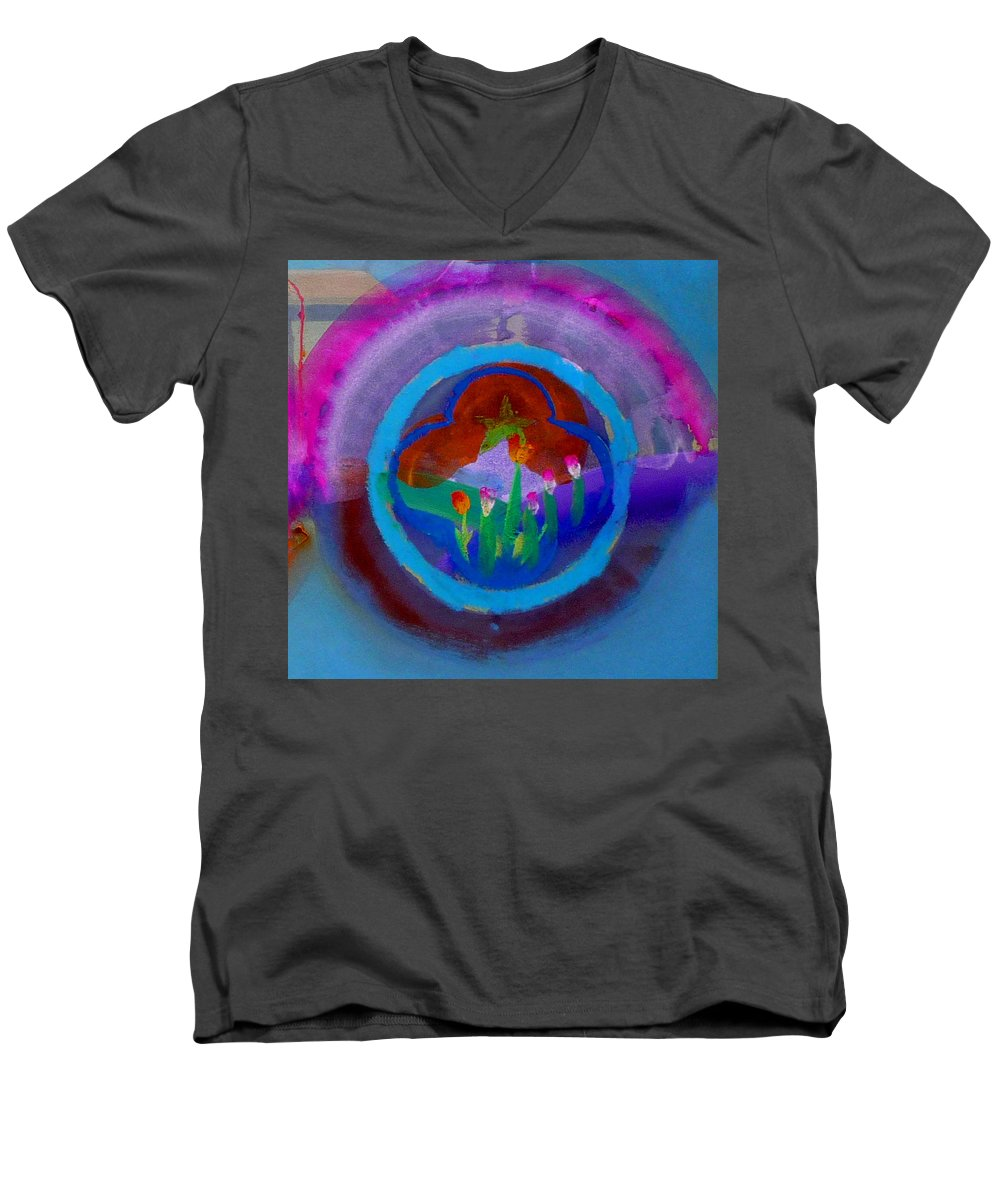 Love Men's V-Neck T-Shirt featuring the painting Blue Embrace by Charles Stuart