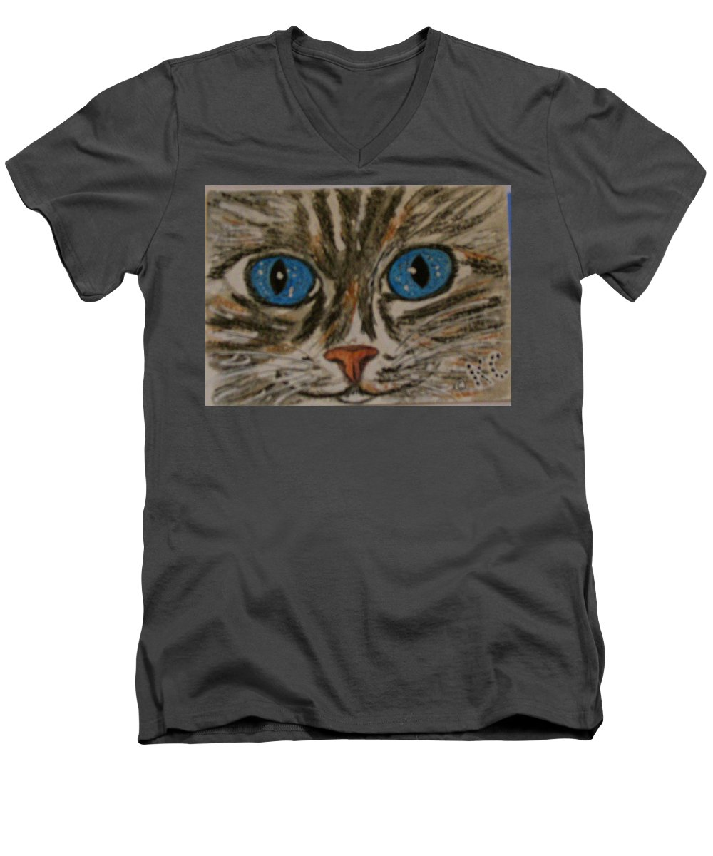 Blue Eyes Men's V-Neck T-Shirt featuring the painting Blue Eyed Tiger Cat by Kathy Marrs Chandler