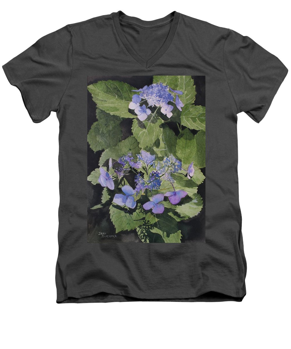 Flowers Men's V-Neck T-Shirt featuring the painting Blue Lace by Jean Blackmer