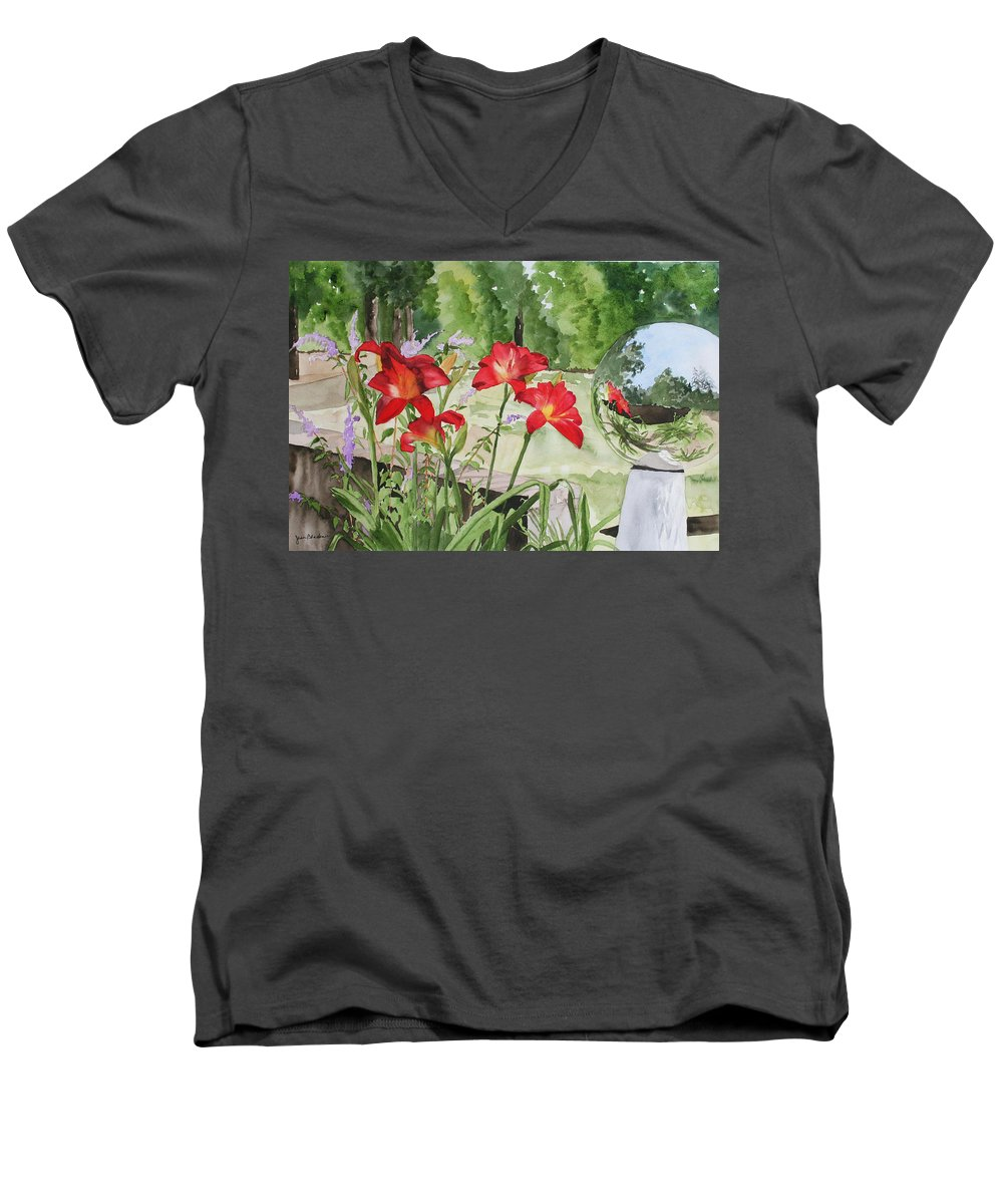 Flowers Men's V-Neck T-Shirt featuring the painting Blue Sky Reflections by Jean Blackmer