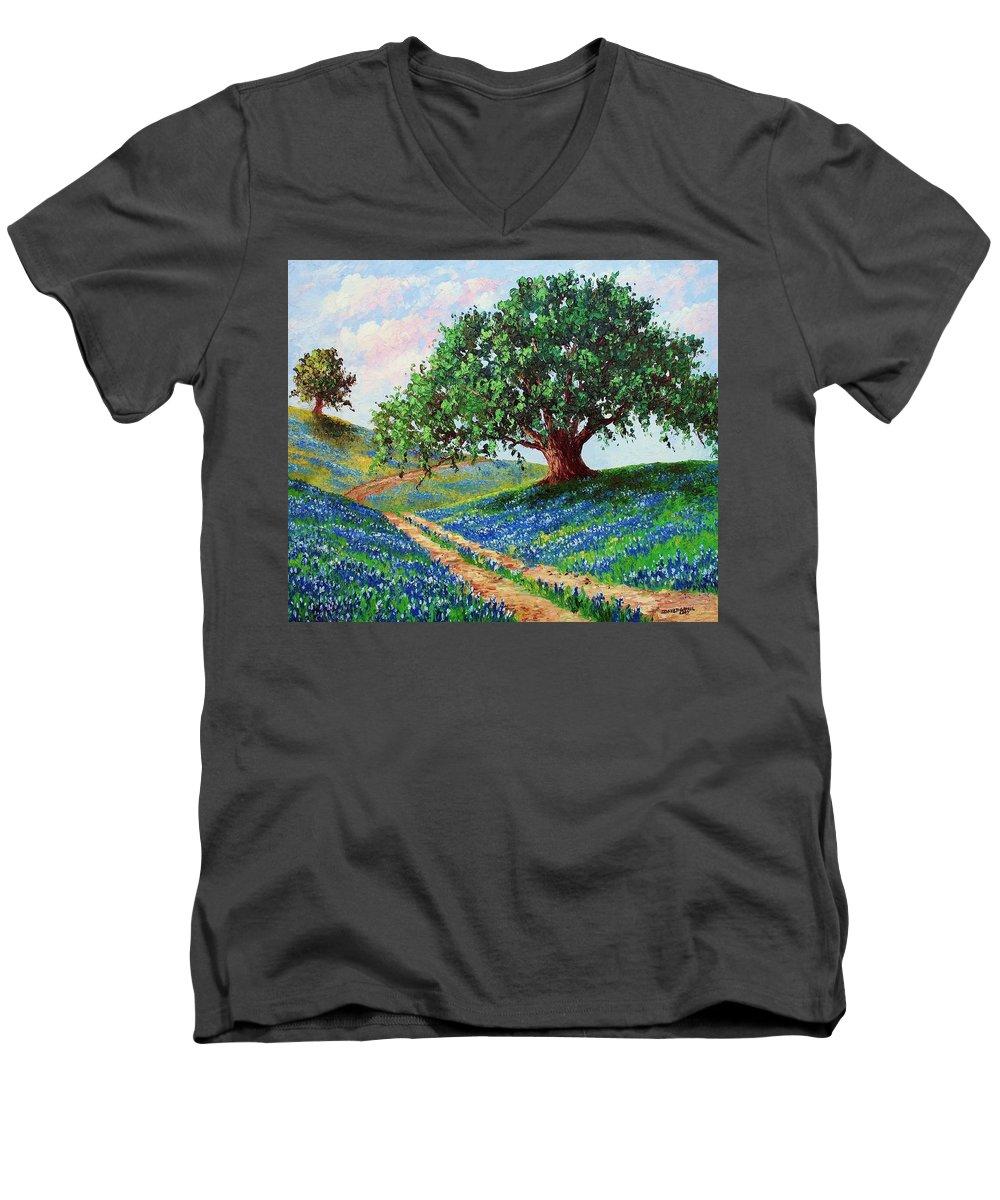 Bluebonnet Men's V-Neck T-Shirt featuring the painting Bluebonnet Road by David G Paul