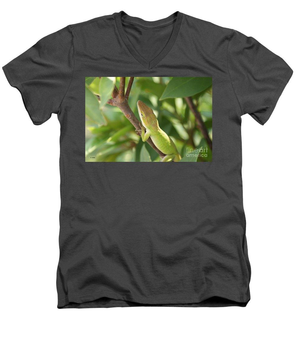 Lizard Men's V-Neck T-Shirt featuring the photograph Blusing Lizard by Shelley Jones