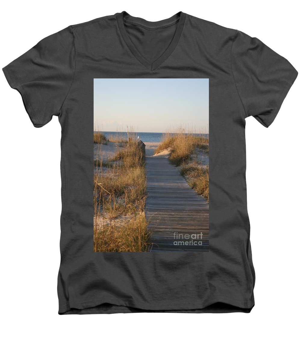 Boardwalk Men's V-Neck T-Shirt featuring the photograph Boardwalk To The Beach by Nadine Rippelmeyer